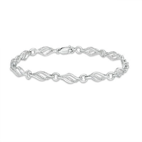 Zales Jewelry - Diamond Accent Flame Bracelet in Sterling Silver